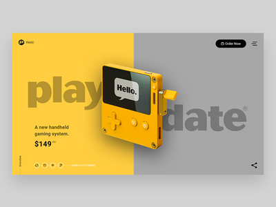 Playdate - Landing Page website web design ux ui mockup landing page interface design console