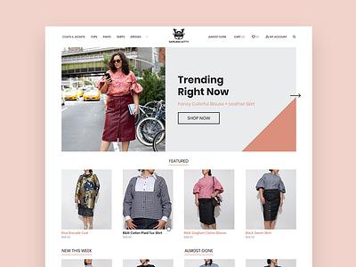 Samurai Kitty - Homepage layout shop branding ux ui clothing landing page responsive responsive design website web design design