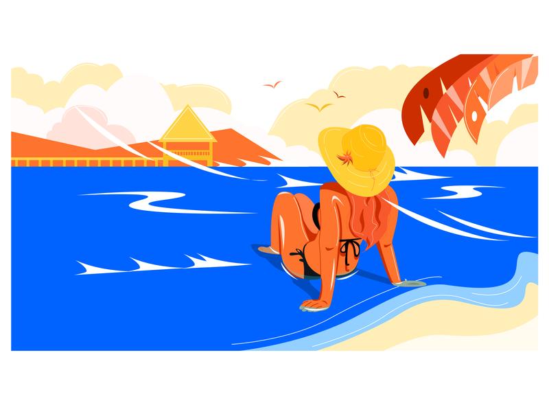 Bikini  Girl ui painting animation design affinity designer illustration