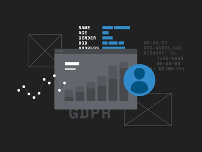 GDPR browser tech graph stats icon illustration flat vector avatar user data code
