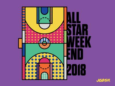 NBA — All Star 2018 branding all star illustration icon line text type court sport basketball nba pattern