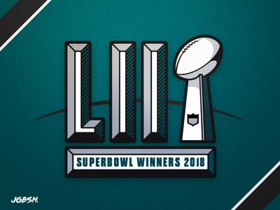 🦅 SuperBowl Champs — LII sport shading award trophy nfl super bowl branding logo icon type lettering football