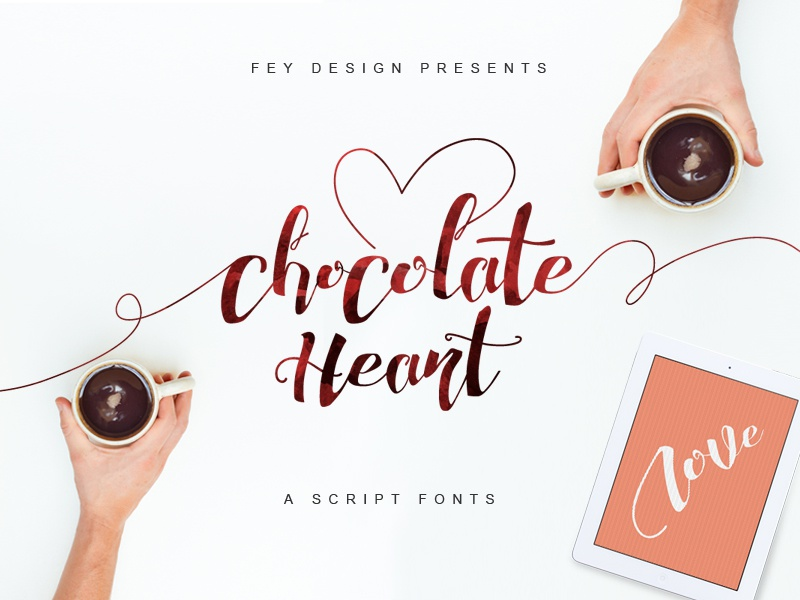 Chocolate Heart Free Font calligraphy modern calligraphy feydesign letter lettering typography freefonts freebies fonts font free font chocolate heart