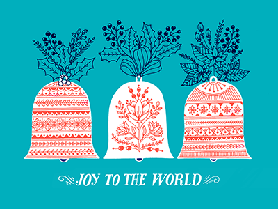 Joy to the World bells floral christmas lettering hand lettering illustration