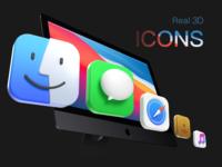 Big Sur 3D icons - Part II ui macos octane render octane macos icon ios app ios14 ios icons c4d branding bigsur music contact safari messages finder 3d icon 3d design