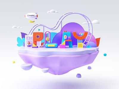 Playflow illustration cinema 4d ui octanerender illustration dribbble design character design c4d branding 3d illustration 3d art 3d