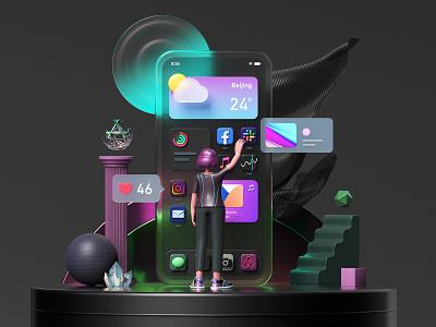 iOS14 icons Scenes app design iphone design 3d 3d icon bigsur branding c4d ios ios app 3d icons designer icons octane render octane ios14 uiux app app icon