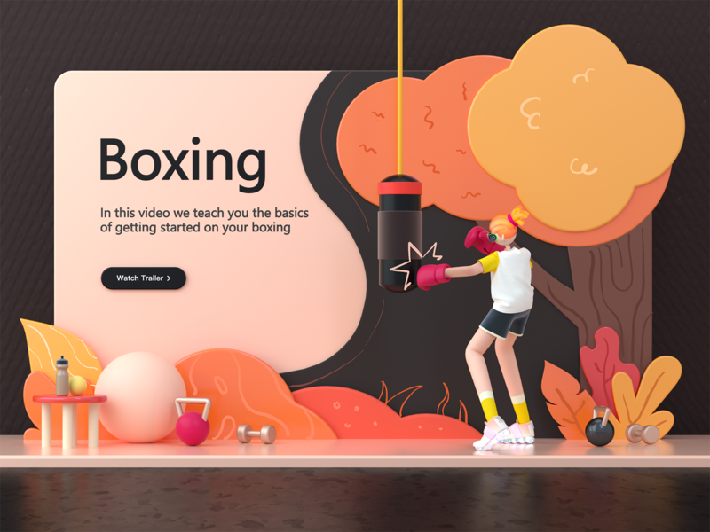 Landing page - Boxing illustration dashboad landing page interface c4d ux dribbble 3d ui design flat