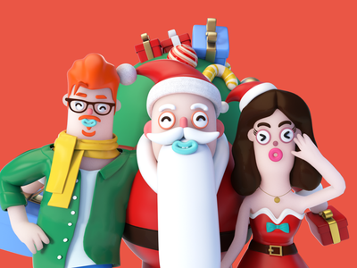 🎄Merry Christmas! 👦🎅👧 dribbble new year santa xmas design character present merry happy holidays gifts illustration c4d 3d ui