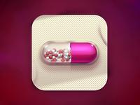 A pink capsule
