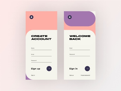 Sign up / Sign in - Concept UI page debut flat colours registration form sign in sign up type minimal web ux app ui design