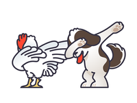 Dabbing Dog And Rooster