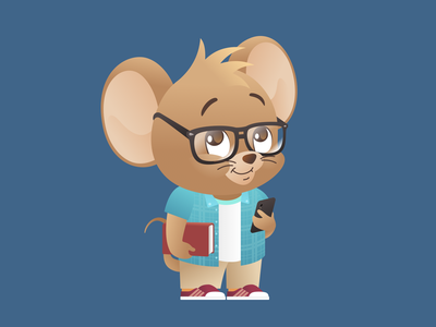 Year of the Rat 2020: The Nerd Featuring. Jerry vector cartoon character illustration