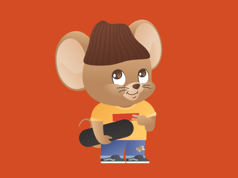 Year of the Rat 2020: The Skater Featuring. Jerry character illustration vector