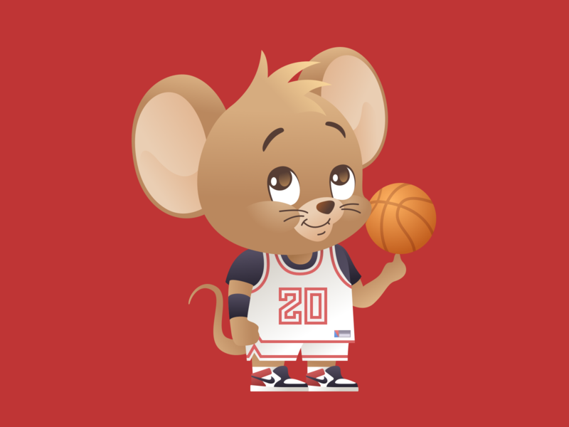 Year of the Rat 2020: The Baller Featuring. Jerry cartoon character illustration vector
