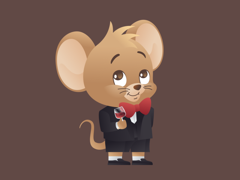 "Year of the Rat 2020: ""Cheers"" Featuring. Jerry cartoon character illustration vector"