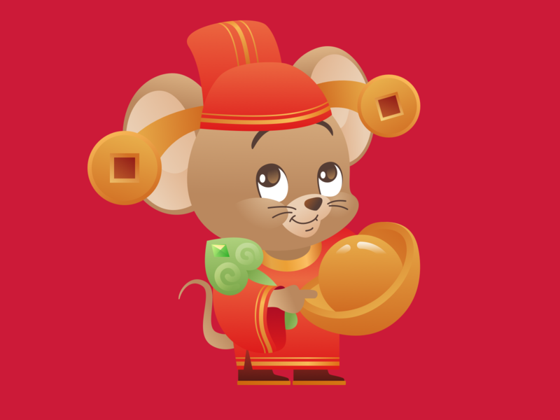 Year of the Rat 2020: 恭喜发财 design cartoon character illustration vector