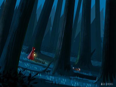Nightcrawler forest woodland ps fox girl illustration