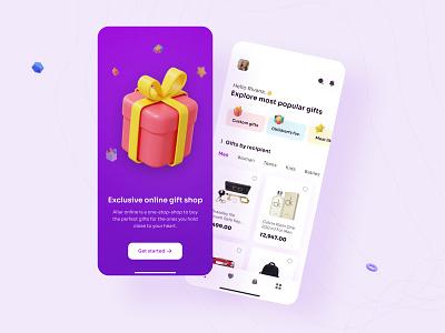 Gift shop app UI concept minimal mobile application appdesign appconcept