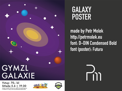 Galaxy Poster galaxy poster design flat vector illustration