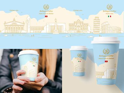 Bellagio Coffee cup branding illustration cup coffee