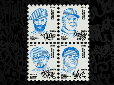 Breaking Legends Stamps illustration bishkek stamps breaking danger dance