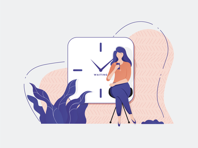 Waiting is normal. Expect it. gradient vector time mobile girl illustration colorful stroke love waiting branding character illustration illustraion design