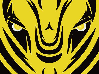 Tiger anger yellow eyes branding colorful vector tiger black illustration illustraion