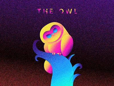 The Owl bird illustration illustration art evening grain birds tree look design colorful owl illustration