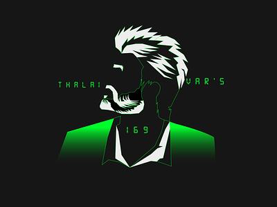 thalivar 01 anger character logo illustraion design branding vector hairstyle digital strokes green illustration rajinikanth