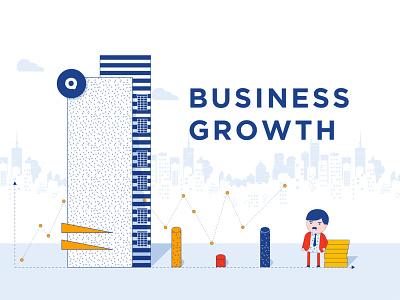 Business Growth poster design 2d animation promotions graphic design character animation growth logo branding design vector colorful illustration
