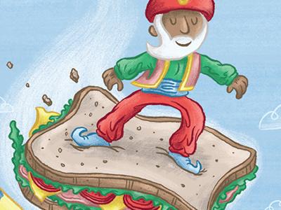 Sinbad Surfs the Seven Skies... magic carpet sinbad persia illustration digital fun