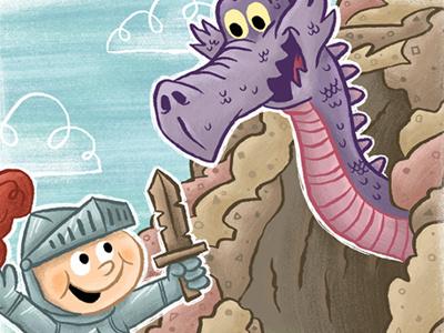 Billy the Knight children boy illustration art digital knight dragon fun