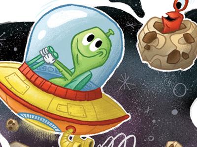 Aliens in Spaaaaace! alien illustration ufo space spaceship