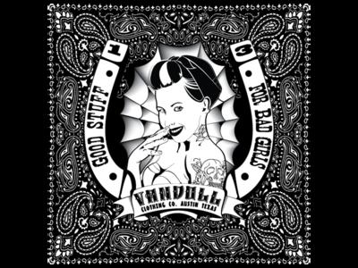 Vandoll CLothing Bandanna clothing bandanna pinup illustration ai vector black and white rockabilly tattoo