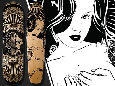 Laser etched Decks laser etching skateboard black and white tattoo pinup ai austin tx
