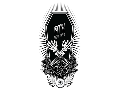 Wfs Wipdr tattoo black and white illustration skateboard lowbrow