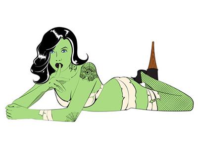Zombiegirl 01 zombie girl halloween pin up girl