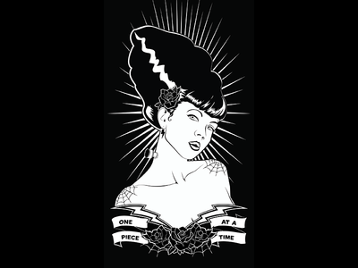 One Piece at a time pin up girl black and white graphic design tattoon