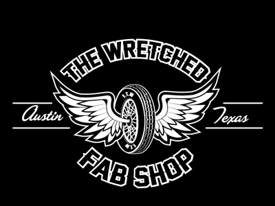 The Wretched Fab Shop Truck decal old skool black and white austin texas motorcycle