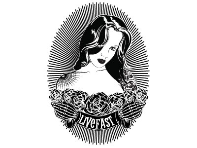 Liver fast HID pin up girl black and white graphic design tattoo