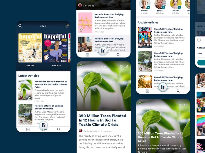 Happiful magazine mobile ui app design app
