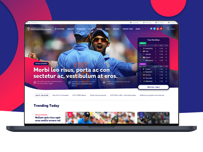 Cricket World Cup Concept design website ui
