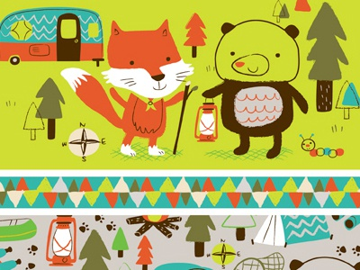 Woodland Camp Scouts illustration vector character fox bear pattern