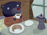 Bear with coffee and croissant