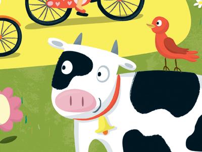 Moo vector art farm cow bird kids book