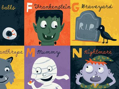 Halloween ABCs halloween alphabet vector art children frankenstein graphic