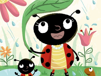Lady Bug lady bug insect children book illustration vector rain spring flowers