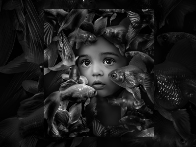 In my dreams eyes retrospective dark art photoart dribbble lifestyle soreal inspire artwork digitalartist digitalart photomanipulation design nature fish boy monochrom visual art