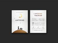 Birth card for Antoine